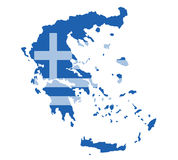 Greece map vector with the greek flag Stock Image