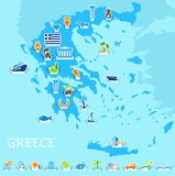 Greece map. Vector illustration. Greece map with icons of the Greek symbols and travel Royalty Free Stock Photos