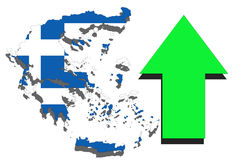Greece map on white background and green arrow rising Royalty Free Stock Photography