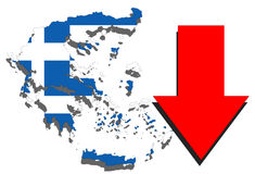 Greece map on white background and red arrow down Royalty Free Stock Photos