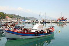 Greece - marina. Greece - fishing boats and yacht in small marina Stock Images