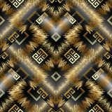 Greece meander greek key vector 3d seamless pattern. Geometric a. Bstract modern background wallpaper with gold ornate tracery, rhombus, zigzag, meanders, shapes Royalty Free Stock Images
