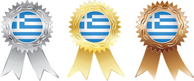 Greece medals. Silver, gold and bronze Stock Photo