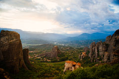Greece. Meteora - incredible sandstone rock formations. The Holly Monastery of Rousanou and St. Nikolaos Anapafsas Stock Images