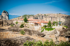 GREECE, METEORA, JULY 2015, spectacular rock formations and Greek Orthodox monasteries. Beautiful view to Kalambaka city Stock Image