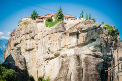 GREECE, METEORA, JULY 2015, spectacular rock formations and Greek Orthodox monasteries. Beautiful view to Kalambaka city Royalty Free Stock Images