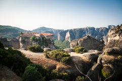 GREECE, METEORA, JULY 2015, spectacular rock formations and Greek Orthodox monasteries. Beautiful view to the monastery Royalty Free Stock Photos