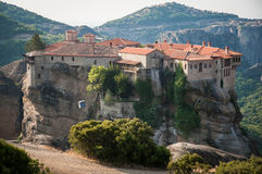 GREECE, METEORA, JULY 2015, spectacular rock formations and Greek Orthodox monasteries. Beautiful view to the monastery Stock Images
