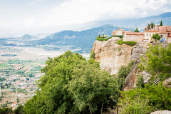 GREECE, METEORA, JULY 2015, spectacular rock formations and Greek Orthodox monasteries. Beautiful view to the monastery Stock Image