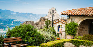 GREECE, METEORA, JULY 2015, spectacular rock formations and Greek Orthodox monasteries. Inside of the monastery Royalty Free Stock Photography