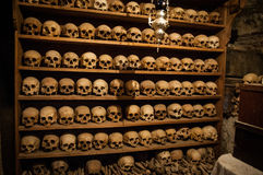 2016, Greece Meteora, wall of skulls inside one of the monasteries. Very interesting place Stock Images