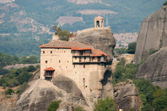 Greece meteors architecture style. Greece meteors -historical and cultural monument Central Greecea place of pilgrimage for tourists of binding the monastery Stock Images