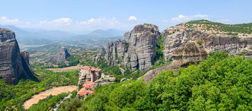 Greece, Meteors, panoramic view from the plateau to the valley o Stock Photo