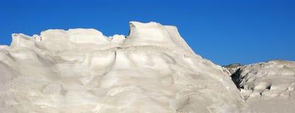 Greece, Milos island, Sarakiniko, white mountains of pumice stock photo
