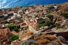 Greece monemvasia traditional view of stone houses with sea background stock image