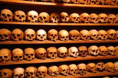 Greece, monks skulls. Greek Orthodox church, monks skulls in funeral chamber in monastery Royalty Free Stock Photo