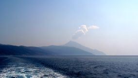 Greece. Mount Athos from the ship in September 2016. Greece. Beautiful view of Mount Athos from the ship in September 2016 Royalty Free Stock Image