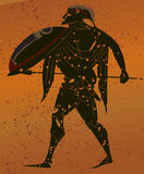 Greece mural painting,. Greek Soldier. Editable vector image Royalty Free Stock Photography