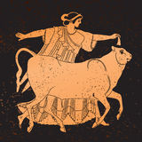 Greece mural painting,. Woman and Bull. Editable vector image Stock Photo