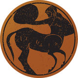 Greece mural painting,  Centaur. Editable vector image Stock Photography
