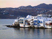 Greece, Mykonos, Chora at dusk Stock Images