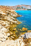 in greece the mykonos island rock sea and beach blue   sky Royalty Free Stock Images