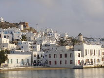 Greece - Mykonos no por do sol Imagem de Stock