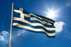 Greece national flag on flagpole Royalty Free Stock Photos