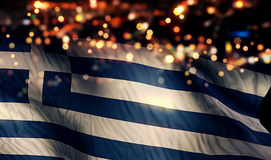 Greece National Flag Light Night Bokeh Abstract Background Stock Photography