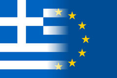 Greece national flag with a star circle of EU Stock Photography