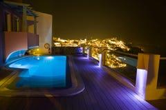 greece nattsantorini Arkivfoton