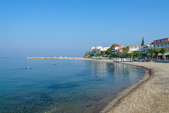 Greece, Nea Kallikratia, morning view from pier on beach Stock Photos