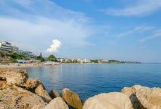 Greece, Nea Kallikratia, views of the coast from the old pier Royalty Free Stock Photography