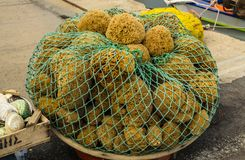 GREECE - November, 2017: Mesh with sponges, lying on the dock. GREECE - November, 2017: Close-up: woven mesh with lots of sea sponges, lying on the quay Stock Images
