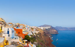 greece oia santorinisolnedgång royaltyfria bilder