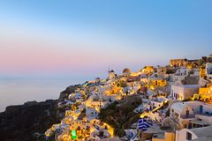 greece oia santorinisolnedgång fotografering för bildbyråer