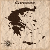 Greece old map with grunge and crumpled paper. Vector illustration Stock Images