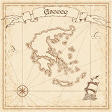 Greece old treasure map. Royalty Free Stock Images