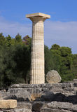 Greece Olympia Column in ruins of Olympia Stock Photos
