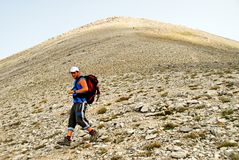 A climber on Olympus mountain stock photos