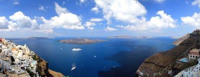 greece panorama- santorinisikt Royaltyfri Fotografi