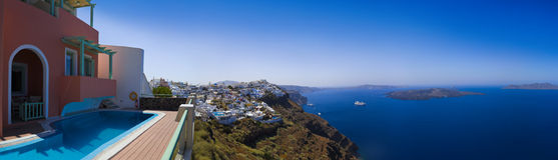 greece panoramasantorini Royaltyfri Foto
