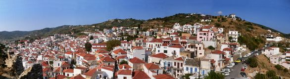 Greece-panoramic outlook on Skopelos Royalty Free Stock Photos