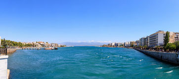 Greece, Panoramic view of Chalkida town. Greece, Evia. Panoramic view of Chalkida town royalty free stock images