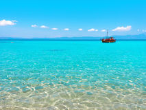 Greece. Paradise bay beach, untouched nature abstract archipelago in seashore with rocks in water on peninsula Halkidiki, Greece Stock Photo