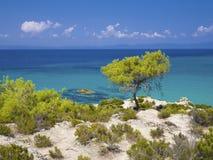 Greece. Paradise bay beach, untouched unique nature abstract archipelago on peninsula Halkidiki, Chalkidiki, Greece, with Sithonia, Atos, Kassandra. Relaxation Royalty Free Stock Photo