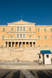 Greece Parliament building with Evzone (presidential guards) Royalty Free Stock Photography