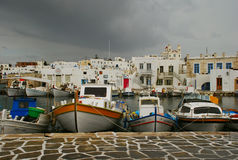 Greece, Paros Island, Noussa fishing harbor. The fisherman port of Noussa on Paros Island, Greece. Stormy weather. Fishing harbour stock images