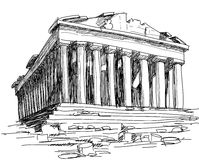 Greece Parthenon sketch. Hand drawing of ancient Parthenon in Athens