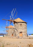 Greece/Patmos: The Mills of Chora. These historic  windmills in Chora/Patmos have been restored. The mills are equipped with jib sails, which are simple Stock Photo